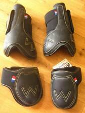John Whitaker Leather Tendon and Fetlock Boot Set, Full, Black - 25% off RRP