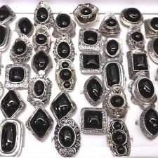 Big Black Turquoise Rings Antique Silver Gemstone Ring Adjustable 50pcs/lot