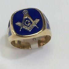 14K Yellow gold with Blue enamel Masonic ring