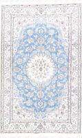 Wool/Silk New Floral 5x8 Light Blue Nain Oriental Hand-Knotted Area Rug