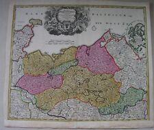 Homann 1710 DUCATUS  MEKLENBURGICI  Rügen Wismar  Kupferstichkarte