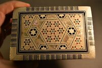 Old Vintage Middle Eastern Marquetry Box MOP & Abalone Handmade Inlay Wood