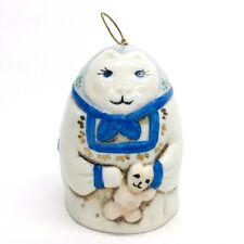 Vintage Salamander Pottery Porcelain Bell Cat Holding Teddy Bear Signed Rdc 1980