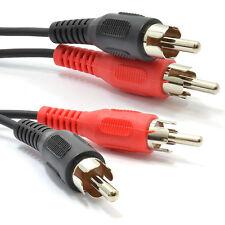 15m RCA Fono plomo Doble Tapones A Enchufes Estéreo Audio Cable Lead [008553]
