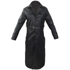 Mens Trench Coat Real Black Leather Long Matrix Goth Gothic