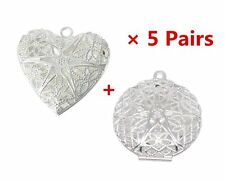 10pcs Silver Plated Round Heart Shape Photo Locket Frame Pendants Charms