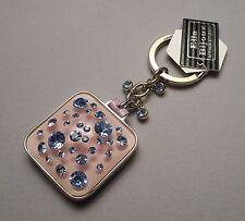 Ella Bijoux Keychain with Fob Mirror - Blue Swarovski Rhinestones in Pink Lucite