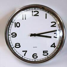 Ikea Wall Clock Chrome Edges School Minimal