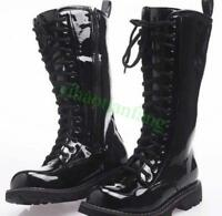 military Mens shiny punk boots Mid Calf patent leather Strappy motorcycle shoes