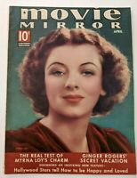 Movie Mirror Magazine April 1938 Myrna Loy, Ginger Rogers