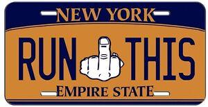 FUNNY RUN THIS BLUE ORANGE NEW YORK VANITY LICENSE PLATE AUTO TAG