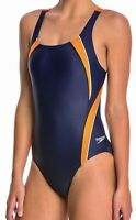 SPEEDO Taper Splice Pulse Back Navy Blue Orange Swim Suit Womens Sz 6 32 8 34