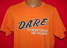 DARE D.A.R.E To Resist Drugs & Violence Orange T-SHIRT Large MARIJUANA Dope