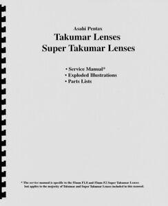 Pentax Takumar Lenses Exploded Views Service, Repair & Parts Manual Reprint