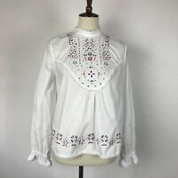 Zara Woman White Cotton Embroidered High Neck Shirt Blouse Top Sz S