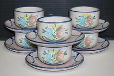 Rare Solimene Vietri Italy Set of 6 Cups & Saucers Mugs Tea Coffee Floral VGUC