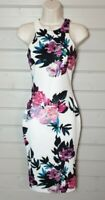 AX PARIS Pink Ivory Floral Stretchy Bodycon Pencil Wiggle Scuba Dress 8 Party