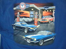 Ford Mustang Service Station Muscle Car Navy T Shirt XL