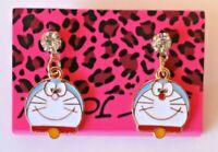 Betsey Johnson Crystal Rhinestone Enamel Cartoon Cat Post Earrings
