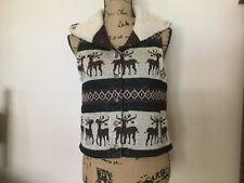 Forever Twentyone Hooded Vest Brown Black Tan Deer Size M Medium Lined