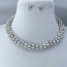 Silver Finish Clear Rhinestones Decorated Thick Chain Designer Inspired Necklace