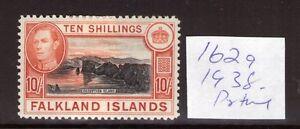 FALKLAND ISLANDS  1938, 2nd print.10/- W/Certificate SG162a,L/hinged cat. £350