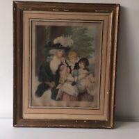 AQUARELLE ANGLAISE XIX Lady Smith et Enfants/ XIX Watercolor Lady and Children
