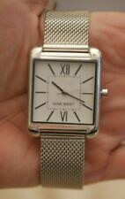 NWT BOX Nine West Women's NW/0018ASST SILVER-Tone Mesh Watch SQUARE FACE