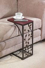 Greenhurst Sofa Side Table Mahogany effect Space Saving and Stylish Black