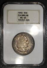1892 Columbian Expo Half Dollar 50C NGC Gold Embossed MS63 - Terminal Toning