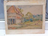 ANTIQUE C GIBSON SEPT 1898 ORIGINAL FARM WATERCOLOR PAINTING ON PAPER ON BOARD