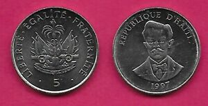 HAITI 5 CENTIMES 1997 UNC CHARLEMAGNE PERLALTE,NATIONAL HERO,BUST FACING,NATIONA