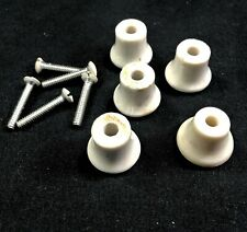 5 Small white porcelain drawer pulls / knobs