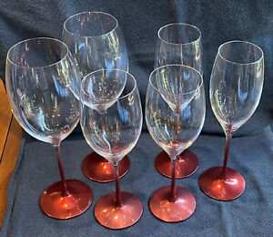 Villeroy & Bosch Rose Red & White Wine, and Champagne Glasses - NEW IN BOX