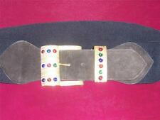 Retro Black Wide Elastic and Suede Belt with Large Gold Jeweled Buckle  Vintage