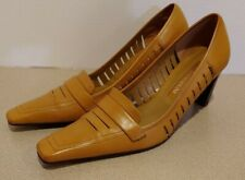 """Enzo Angiolini Tan Leather 2 3/4"""" Stacked Heel Slip-on Vented Women's size 6 M"""