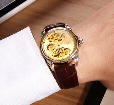 Men's Brown Leather Waterproof SKeleton Luxury Mechanical Watch