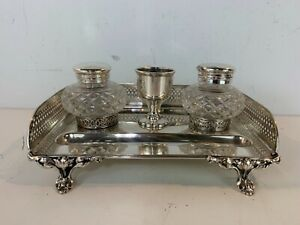 Antique Thomas Wilkenson Victorian Silverplate and Glass Inkwell Desk Set