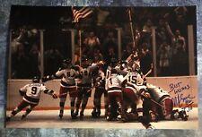 GFA 1980 Miracle on Ice Captain * MIKE ERUZIONE * Signed 12x18 Photo M8 COA