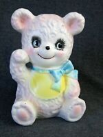 Vintage Relpo 5678 pink bear nursery planter blue bow sitting yellow bib Japan