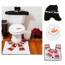 Noël Décoration Bonhomme de neige Toilette Housse De Siège Tapis De Noël Fête Décoration