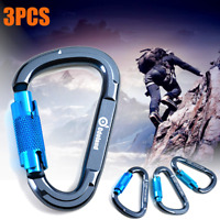 3 Pack Heavy Duty Carabiner Clip Snap Auto Locking Rock Climbing Camping 25KN