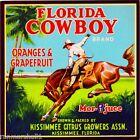 Kissimmee Florida Cowboy #3 Orange Citrus Fruit Crate Label Vintage Art Print