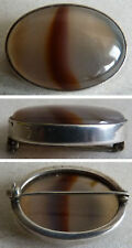 Broche en ARGENT massif Sterling + vraie agate silver brooch