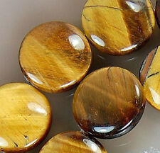 """16mm Yellow Tiger Eye Coin Beads 15.5"""""""