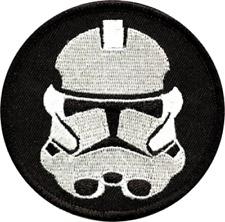 Star Wars- Round Black & White Stormtrooper Embroidered Iron On / Sew On Patch
