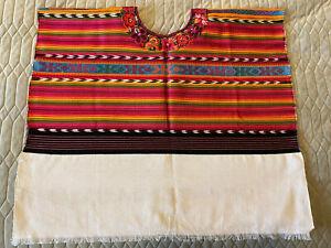 Mayan Guatemalan Ceremonial Textile Huipil Poncho Blouse For Baby