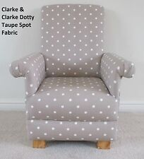 Clarke Dotty Spot Taupe Fabric Childs Chair Polka Dot Nursery Armchair Kid Beige
