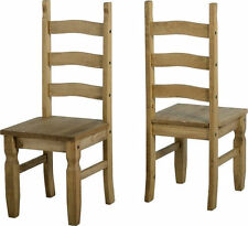 Set of 2 X CORONA Mexican Style Distressed Pine Dining Chairs Delivery