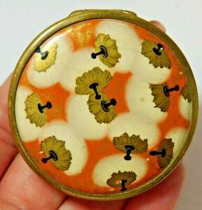 Vintage Coty Purse Mirror Powder Compact Gold T Orange Cotton Flower Enamel Cd21